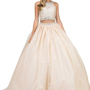 Dancing queen crystal champagne lace ball gown